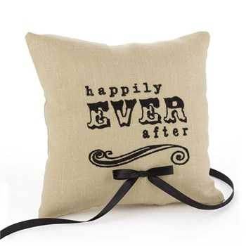 Happily Ever After Linen Ring Pillow
