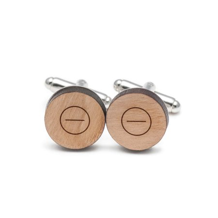 Symbol Cufflinks Cufflinks - Minus Symbol Cufflinks, Wood Cufflinks Hand Made in the USA