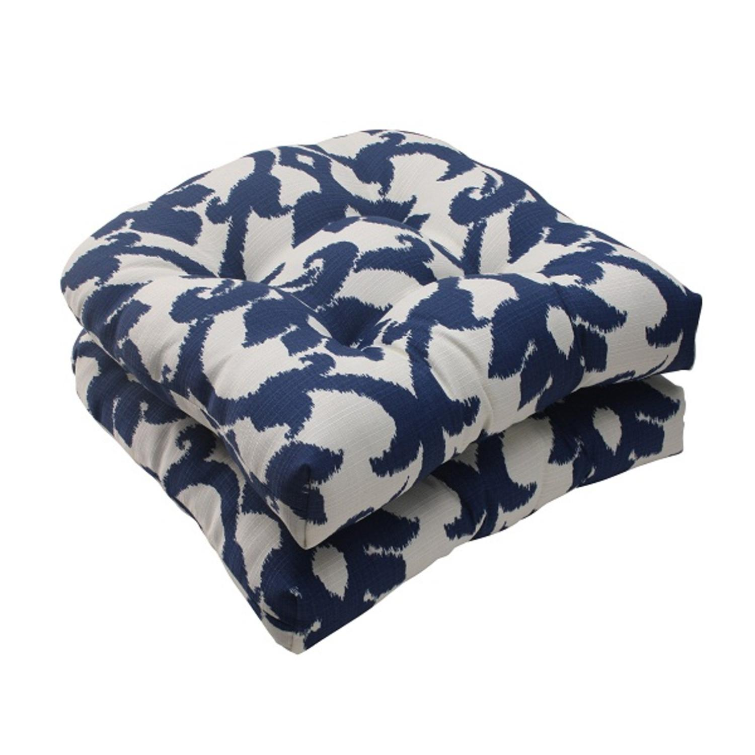 Set of 2 Navy Victorial Floral Outdoor Patio Tufted Wicker Seat Cushions 19""