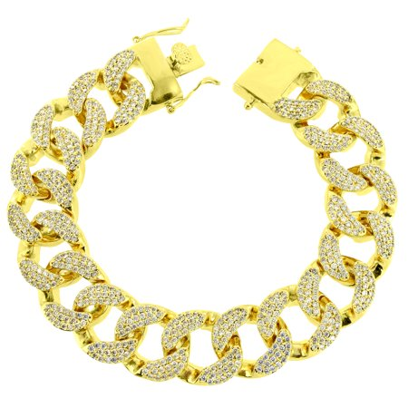 "Miami Cuban Link Bracelet 9.0"" 14k Gold Finish Iced Out Lab Created Cubic Zirconias Heavy Custom 18mm"
