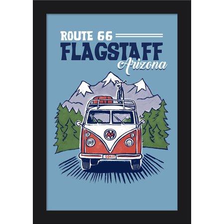 Flagstaff, Arizona - Route 66 - Cartoon Camper Van Driving - Lantern Press Artwork (12x18 Giclee Art Print, Gallery Framed, Black Wood) ()