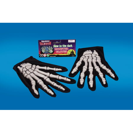 Star Power Glow In The Dark Skeleton 2pc Gloves, Glow Black, One-Size - Black Skeleton Gloves