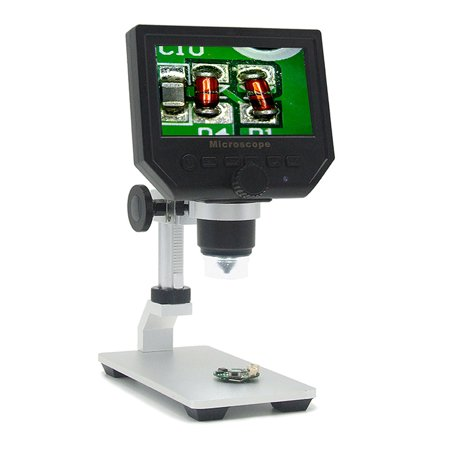 G600 Lcd - MUSTOOL G600 Digital 1-600X 3.6MP 4.3inch HD LCD Display Microscope Continuous Magnifier with Aluminum Alloy Stand Upgrade Version