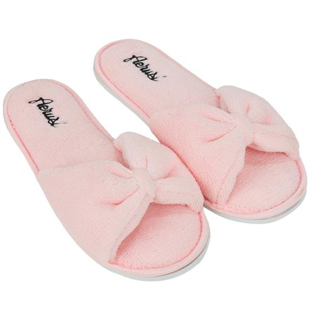 066662272c2a AERUSI - Women s Soft and Cozy Ribbon Plush Bow Sandal Slippers With No-Slip  Rubber Sole For Indoor