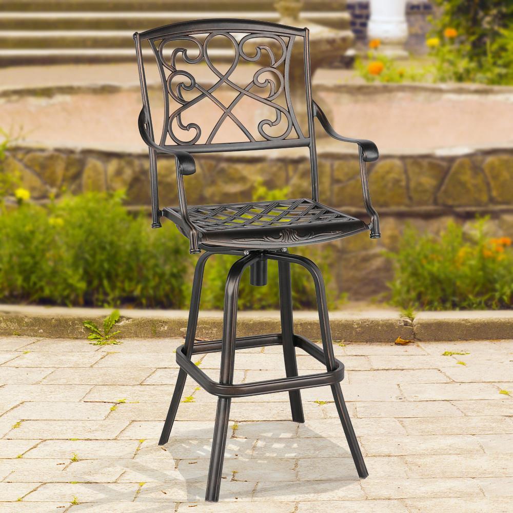 Topeakmart Metal Bistro Chair Swivel Bar Stool for Outdoor, Garden