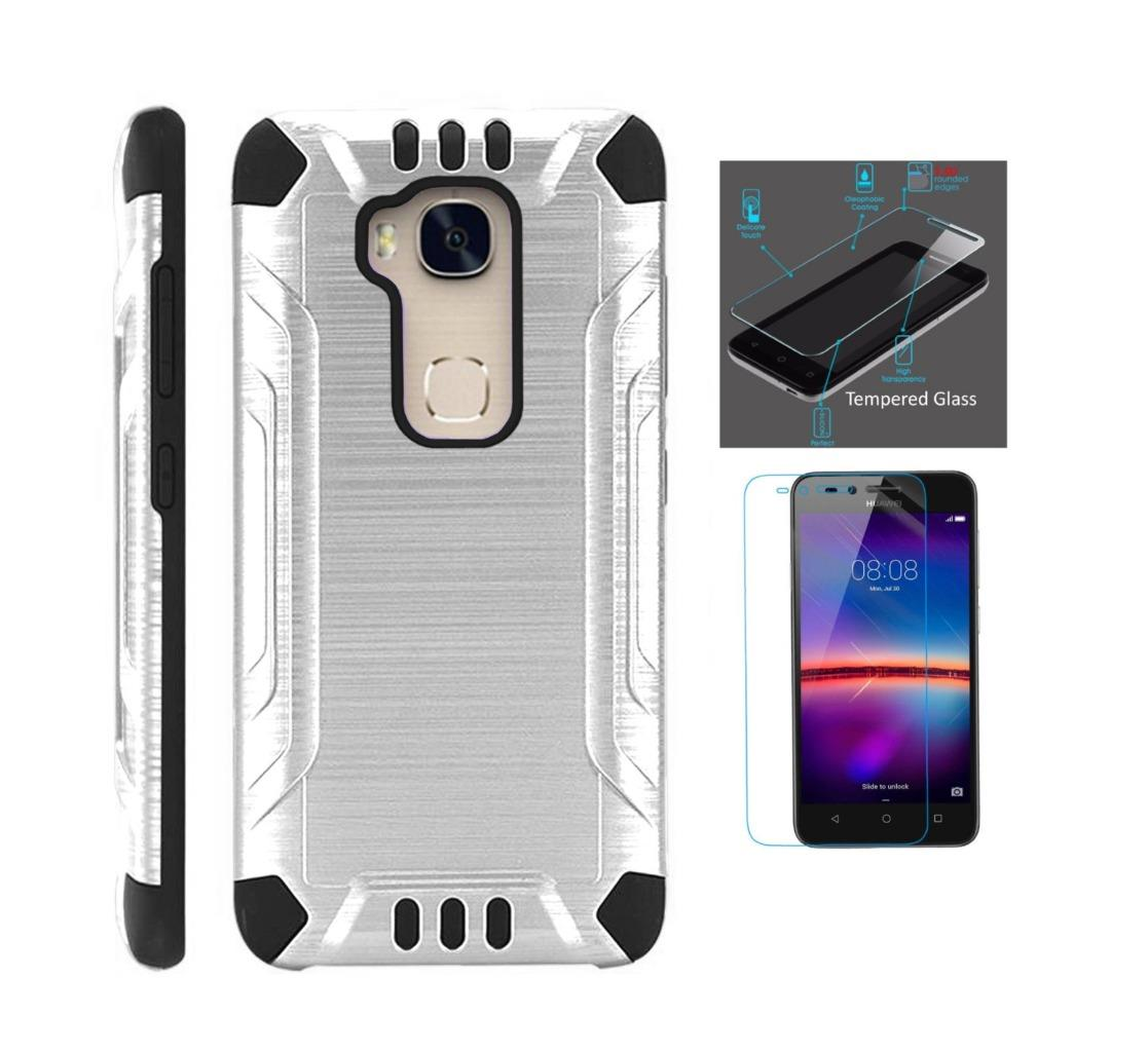 For Huawei Sensa 4G LTE Case + Tempered Glass Screen Protector / Slim Dual Layer Brushed Texture Armor Hybrid TPU Combat Phone Cover (Silver/Black)