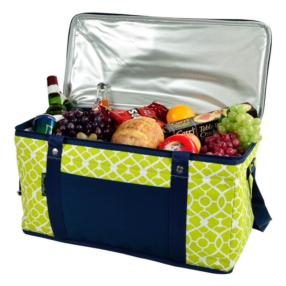 Large Folding Collapsible Cooler in Trellis Green and Navy