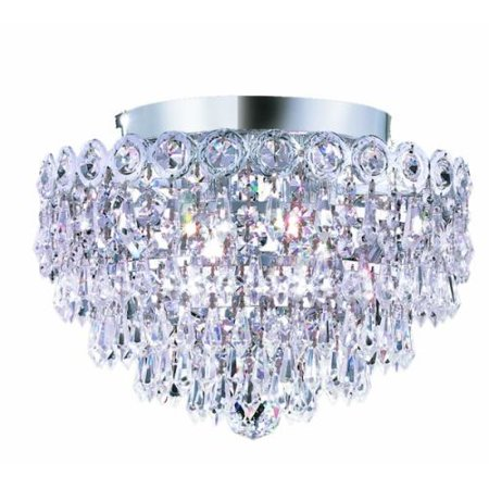 Elegant Lighting 1902f12c Century 4 Light Single Tier Flush Mount Crystal Chandelier