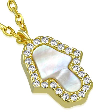 925 Sterling Silver Simulated Mother of Pearl Clear CZ Hamsa Pendant Necklace, 18