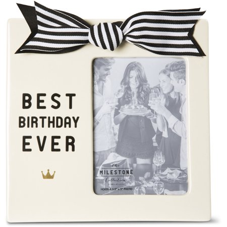 The Milestone Collection - Best Birthday Ever 3.5x5 Cream Vertical Picture Frame with Bow and (Best Compound Bow Ever)