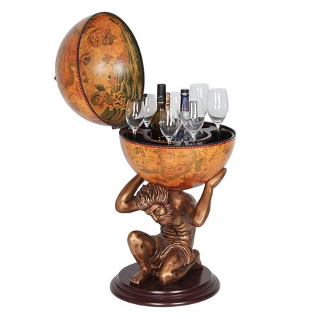 NEX Italian Renaissance Classical Wood Globe Wine Cabinet with Bronze Stand Supporter, Wine Bar, Hardwood Materials, 3 Bottle Wine Bar, Portable Wine Cart (HT-KF304G-M) ()