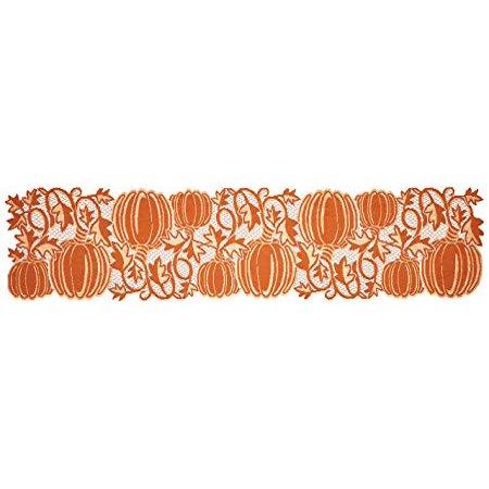 Heritage Lace PV-1460O Pumpkin Vine Orange Table Runner, 14