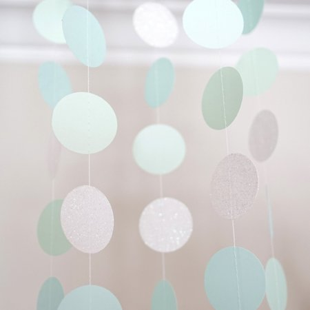 Pearl White Mint Green Blue Circle Dots Paper Garland 10 Ft Party Home Decor](Pearl Garland)
