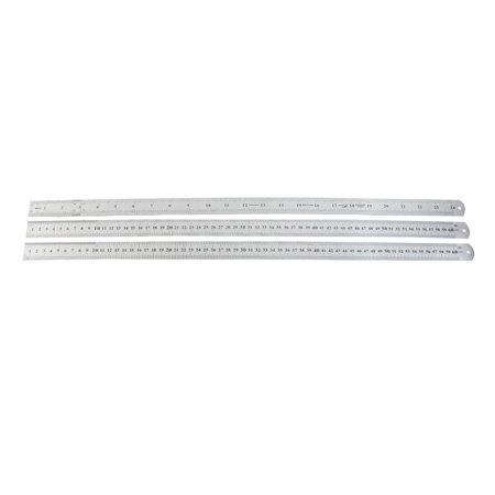 Straight Sided Stainless Steel (Unique Bargains 3pcs Stainless Steel Dual Side Drafting Measuring Straight Ruler 60cm 24 Inch)