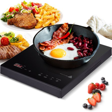 GHP 1800W Portable Black Countertop Induction Cooker with LED Display & Touch