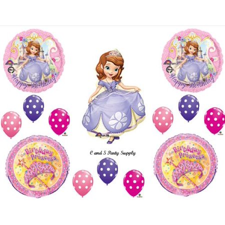 PRINCESS SOFIA THE FIRST Happy Birthday PARTY Balloons Decorations Supplies Disney Polka Dots