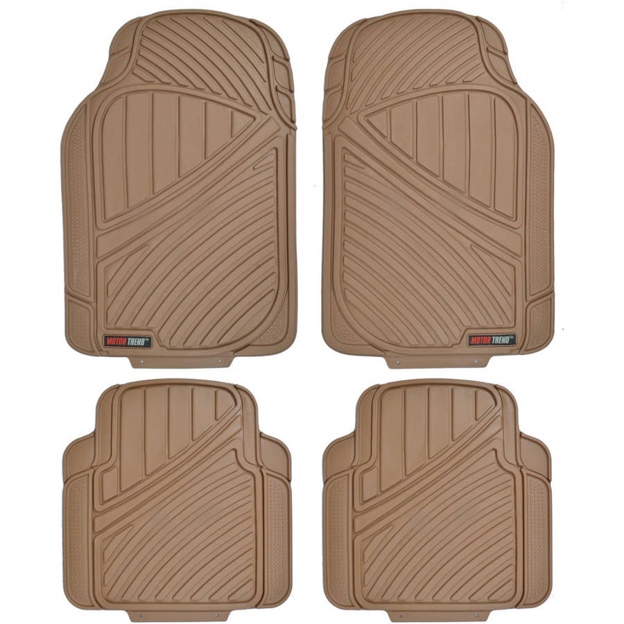 Motor Trend FlexTough Standard, 4-Piece Heavy-Duty Rubber Floor Mats, Black
