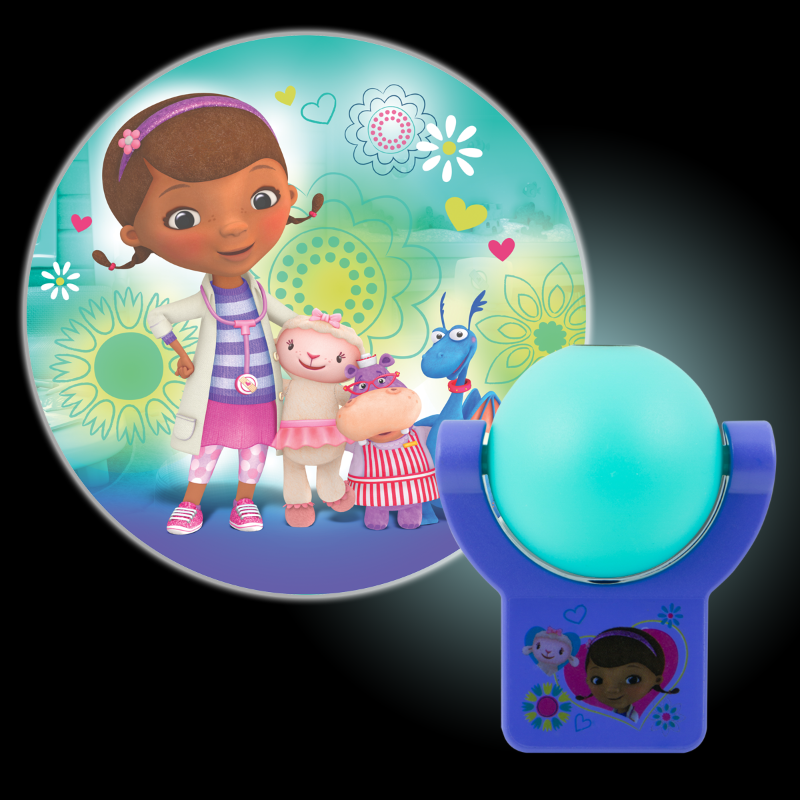 Projectables Disney's Doc McStuffins LED Plug-In Night Light, Doc McStuffins, Lambie, Hallie, and Stuffy Image, 14530