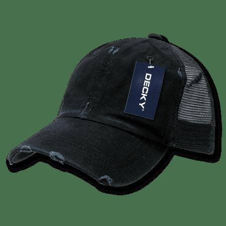 DECKY Vintage Mesh Washed Cotton Snapback Trucker Cap Caps Hat Hats For Men Women Black ()