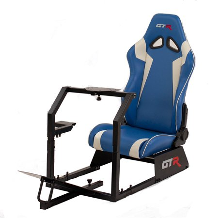 GTR Racing Simulator GTA-BLK-S105LBLWHT GTA 2017 Model Black Frame with Blue/White Real Racing Seat, Driving Simulator Cockpit Gaming Chair with Gear Shifter Mount](Gta Halloween 2017)