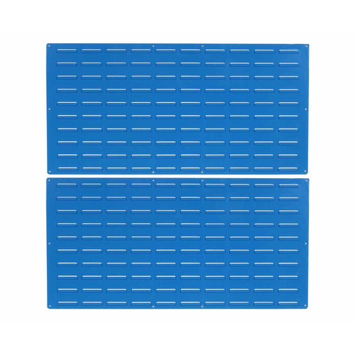 """LocBin (2) 18ga Blue Epoxy Coated Louvered-Panel for Storing Plastic Hanging Bins, 48""""W x 24""""H and Includes All Necessary Mounting Hardware"""