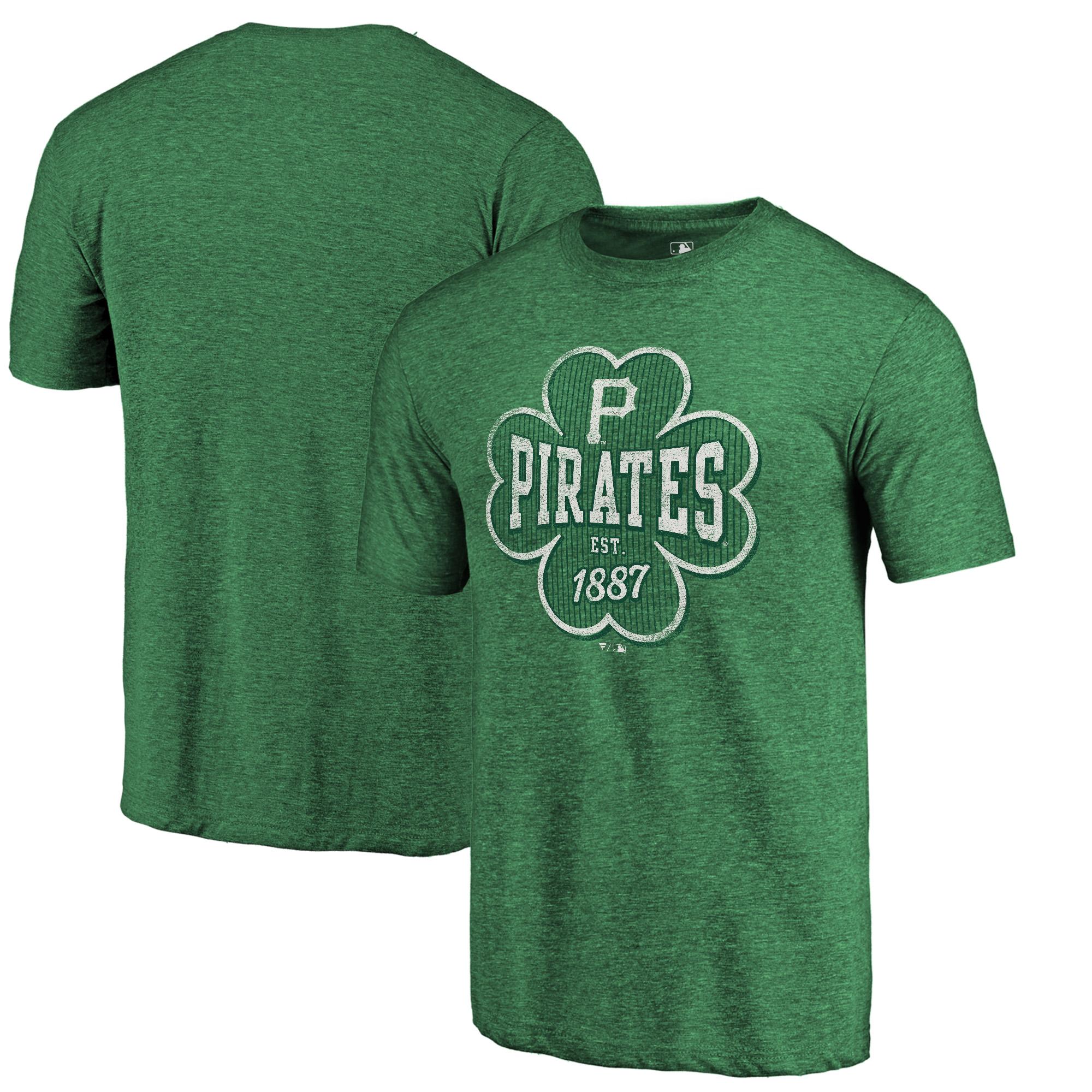Pittsburgh Pirates Fanatics Branded 2018 St. Patrick's Day Emerald Isle Tri-Blend T-Shirt - Kelly Green