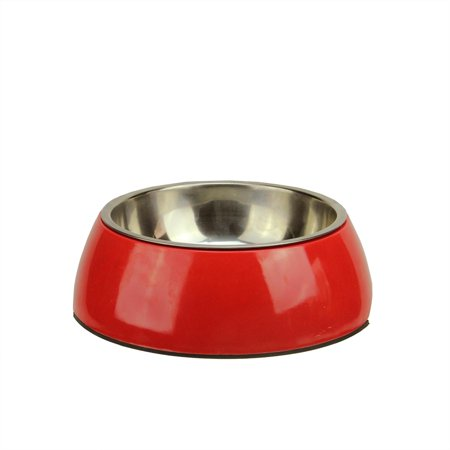 8 5  Bright Red Melamine And Stainless Steel Puppy Dog Feeding Or Water Bowl