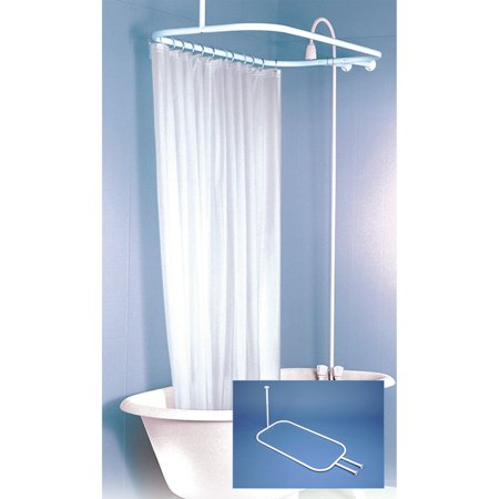 Hoop Shaped Shower Rod White Finish