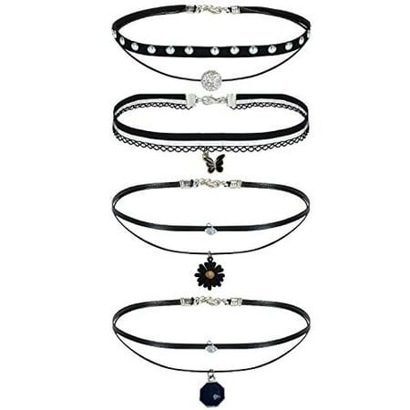 - Choker Necklace Black Layered Braided Charm Collar Girls Set 4 Pieces