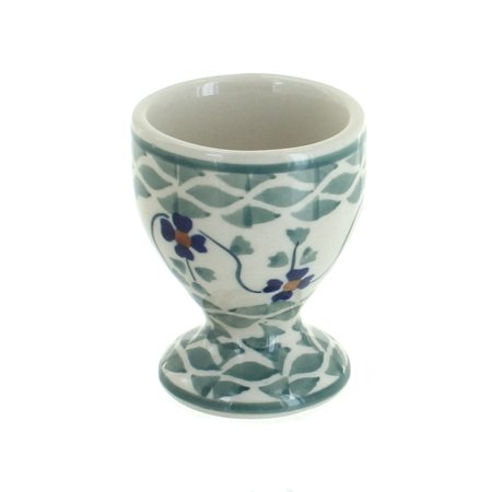 Polish Pottery Sage Floral Egg Cup