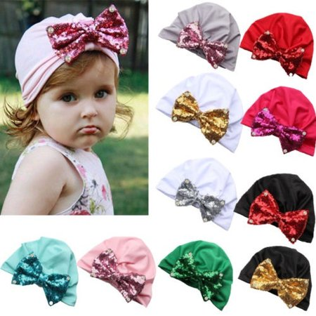 f7bf252b368 Meihuida - Baby Newborn Kids Cute Points Bowknot Sequins Hat Cap Beanie  Bonnet Hats Hair - Walmart.com