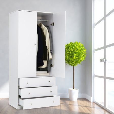 Kinbor Two Door Wardrobe Cabinet Armoire With Three Drawers And Hanging Rod White