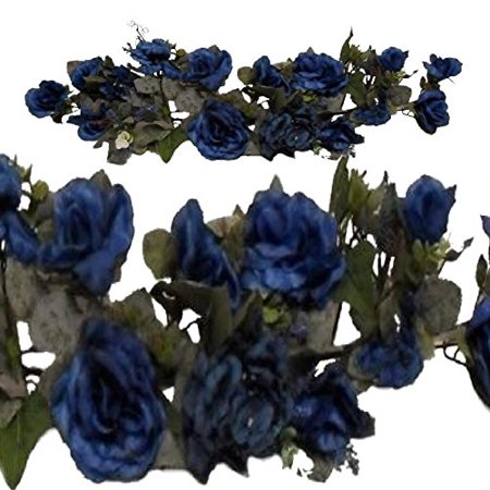 Artificial Flowers For Decoration Victorian Floral Swag BLUE Silk flowers Rose & Hydrangea 28