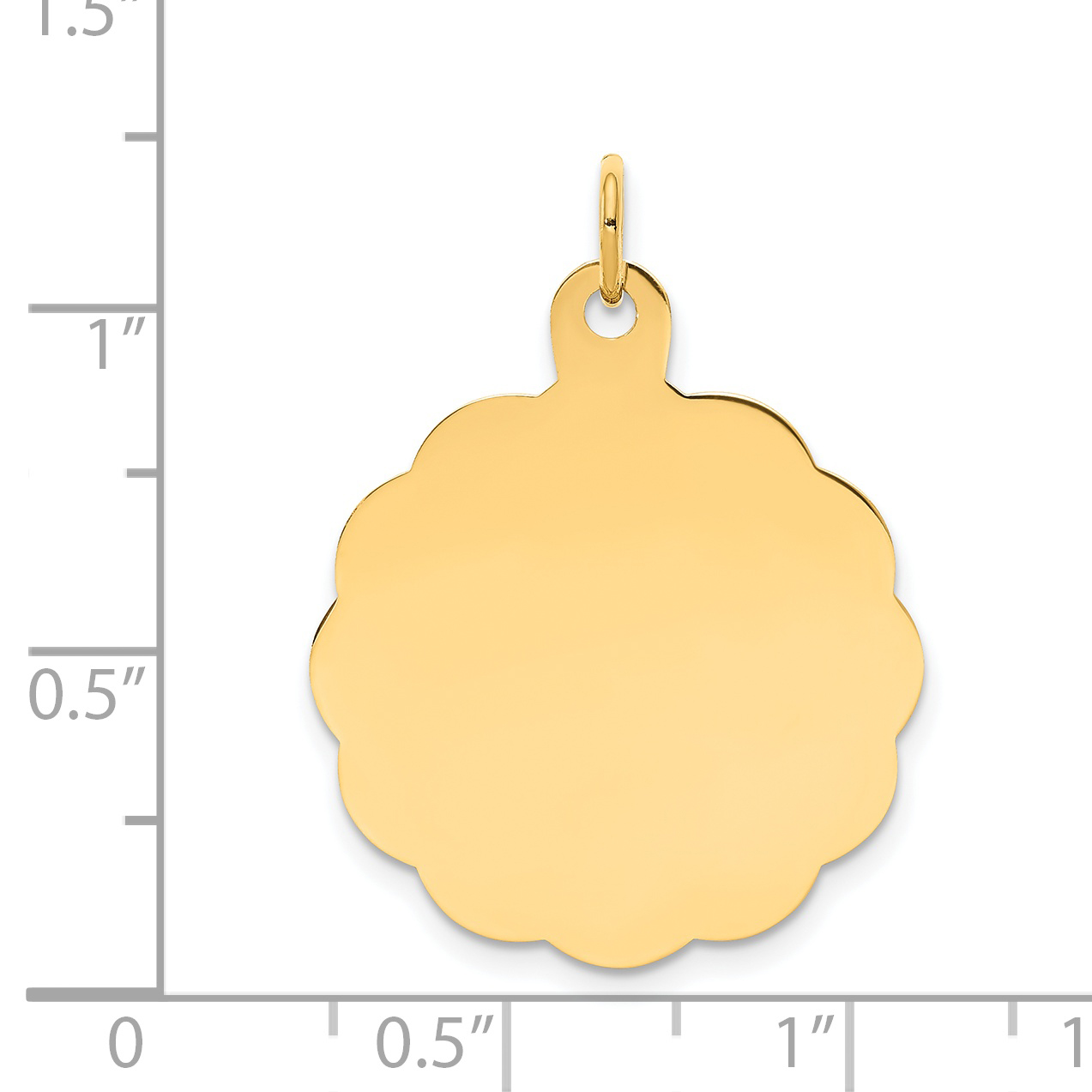 14K Yellow Gold .027 Gauge Engravable Scalloped Disc Charm - image 1 of 2