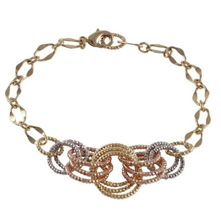 Dlux Jewels Tri Color Brass with Open Circles Link Bracelet, 8.5 in. - image 1 de 1
