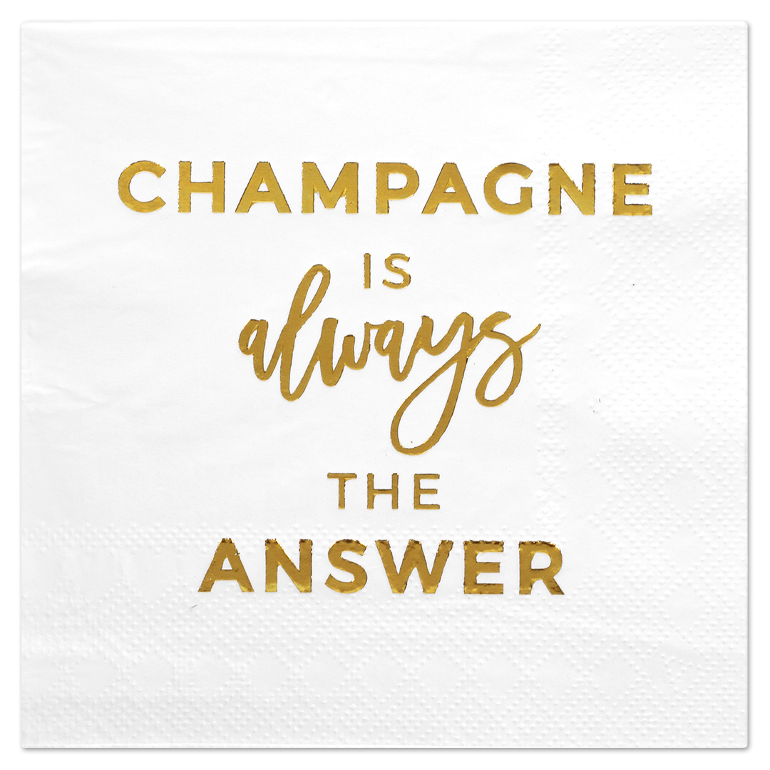 Koyal Wholesale Champagne, Funny Quotes Cocktail Napkins, Gold Foil, Bulk 50 Pack Count 3 Ply Napkins