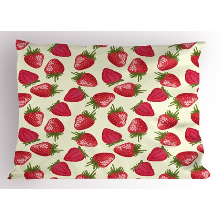 Fruits Pillow Sham Strawberries Vivid Growth Plant Vitamin Organic Diet Refreshing Image, Decorative Standard Size Printed Pillowcase, 26 X 20 Inches, Eggshell Red Olive Green, by - Organic Standard Pillowcase