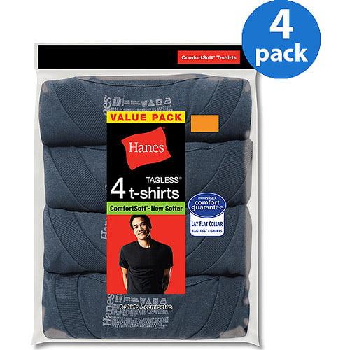 Hanes Men's Dyed Crew ComfortSoft T-Shirts 4 Pack - Walmart.com