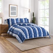 Gap Home Shibori Patchwork Reversible Organic Cotton Blend Quilt, Full/Queen, Blue