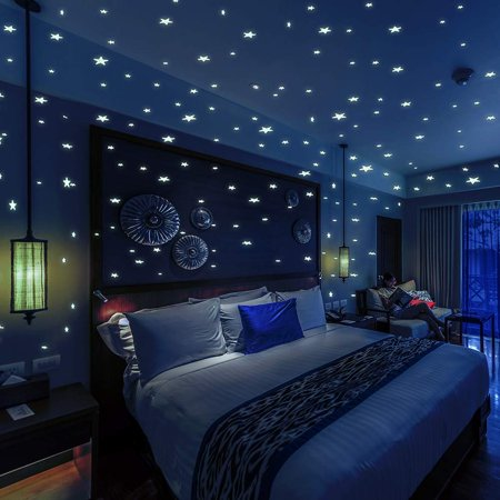 Glow In The Dark Website (Bollepo Glow in The Dark Star and Dots 332 3D Wall Stickers for Kids Bedroom and Room Ceiling Stars Gift Beautiful Glowing Wall Decals + Stars Constellations)