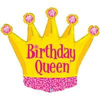 "Betallic Birthday Queen Tiara Crown Super Shape 36"" Foil Balloon, Gold Pink"