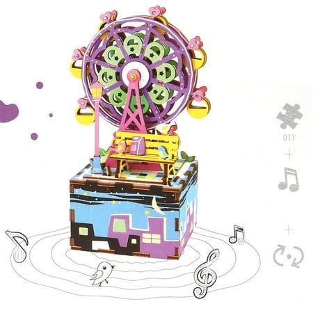 Christmas Ferris Wheel Music Box.Diy 3d Wooden Puzzle Bidirectional Music Box Ferris Wheel