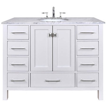 - Stufurhome 48 inch Malibu Pure White Single Sink Bathroom Vanity