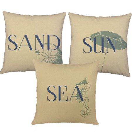 Set Of 3 Blue Sun Sand And Sea Throw Pillow Covers 18X18 Square Natural Cotton Shams  One Set Of 3 Of Roomcraft Blue Sun Sand Sea Natural Cotton Throw Pillow    By Roomcraft