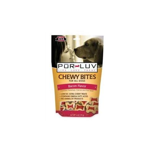 Pur Luv Chewy Bites Bacon Treat, 6-Ounce Multi-Colored