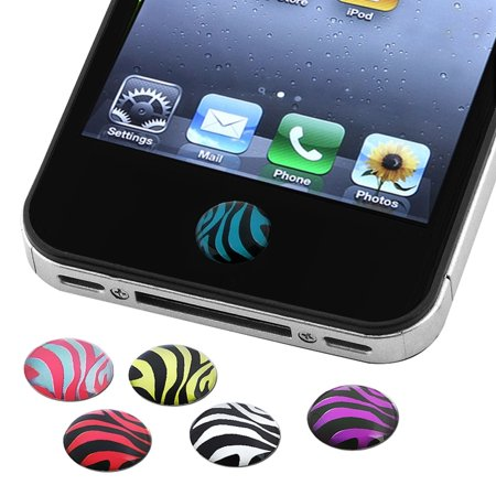 Insten 6 Pieces Zebra Patterns Home Button Sticker For Iphone 6 6S 5S 5C 5 4S Ipod Touch 6Th 5Th 4Th 3Rd Ipad Mini Air