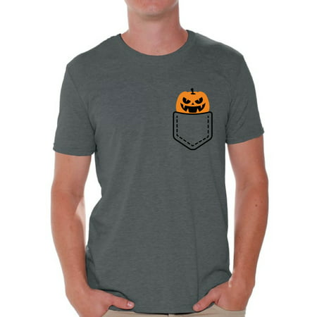 Awkward Styles Halloween Pumpkin Pocket Tshirt Halloween Shirt for Men Jack-O'-Lantern Pumpkin Pocket Shirt Pumpkin Patch Men's Tshirt Halloween Costume T Shirt Spooky Gifts Pumpkin Face Shirt