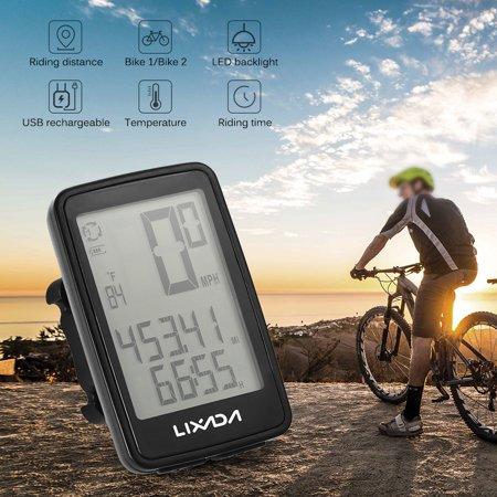 Lixada Speedometer Odometer USB  Bike Cycling Computer with Bicycle Speedometer Odometer Rechargeable Wireless Speedometer Send From CANADA - image 4 of 6