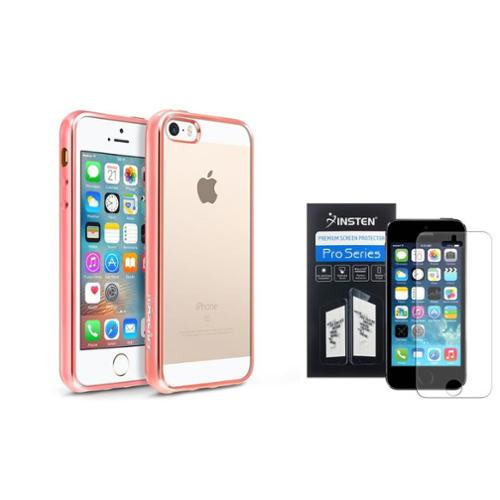 BasAcc Clear Soft TPU Back Cover with Rose Gold Chrome Edge Bumper For iPhone SE 5S 5 (+ Anti-Glare Screen Protector)