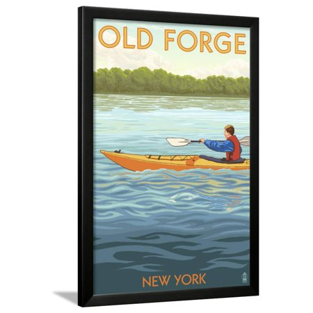 Old Forge, New York - Kayak Scene Framed Print Wall Art By Lantern Press